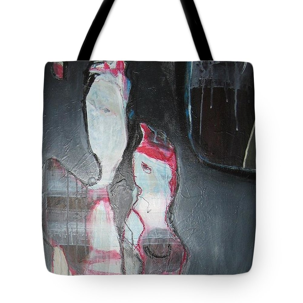 Abstract Paintings Tote Bag featuring the painting A Flase Rumor by Seon-Jeong Kim