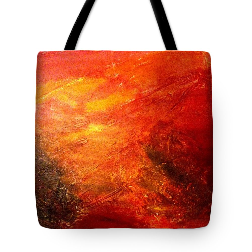 Red Tote Bag featuring the painting A Forest by Solenn Carriou