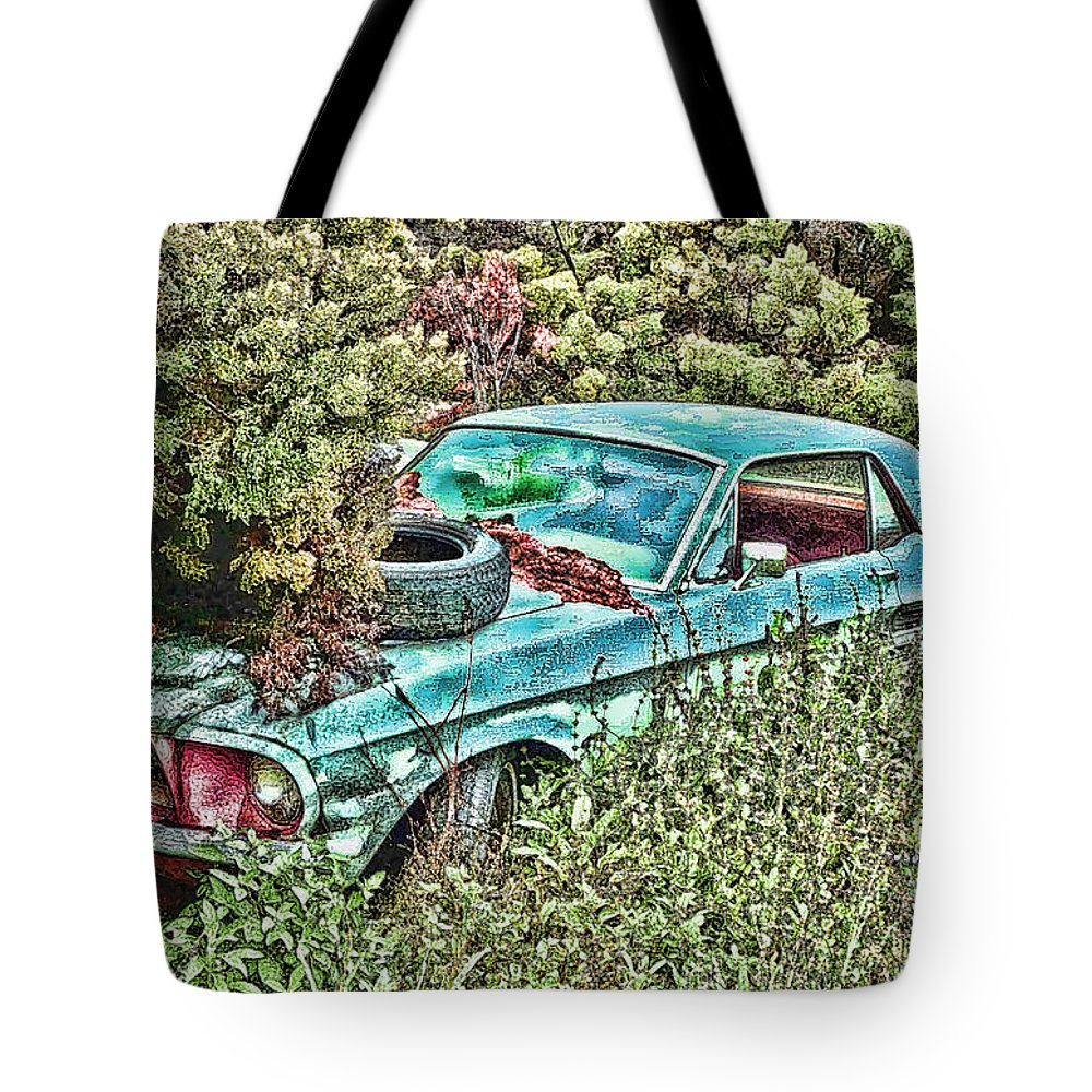 Ford Tote Bag featuring the digital art A Forgotten Mustang by Tommy Anderson