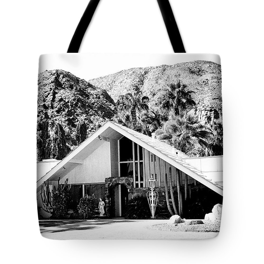 Movie Colony Homes Tote Bag featuring the photograph A Frame Bw Palm Springs by William Dey