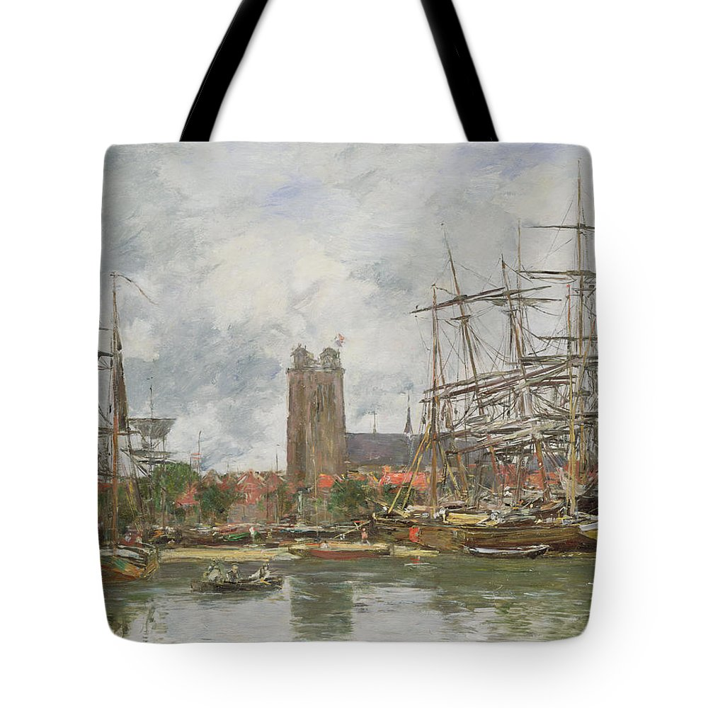 Boudin Tote Bag featuring the painting A French Port by Eugene Louis Boudin