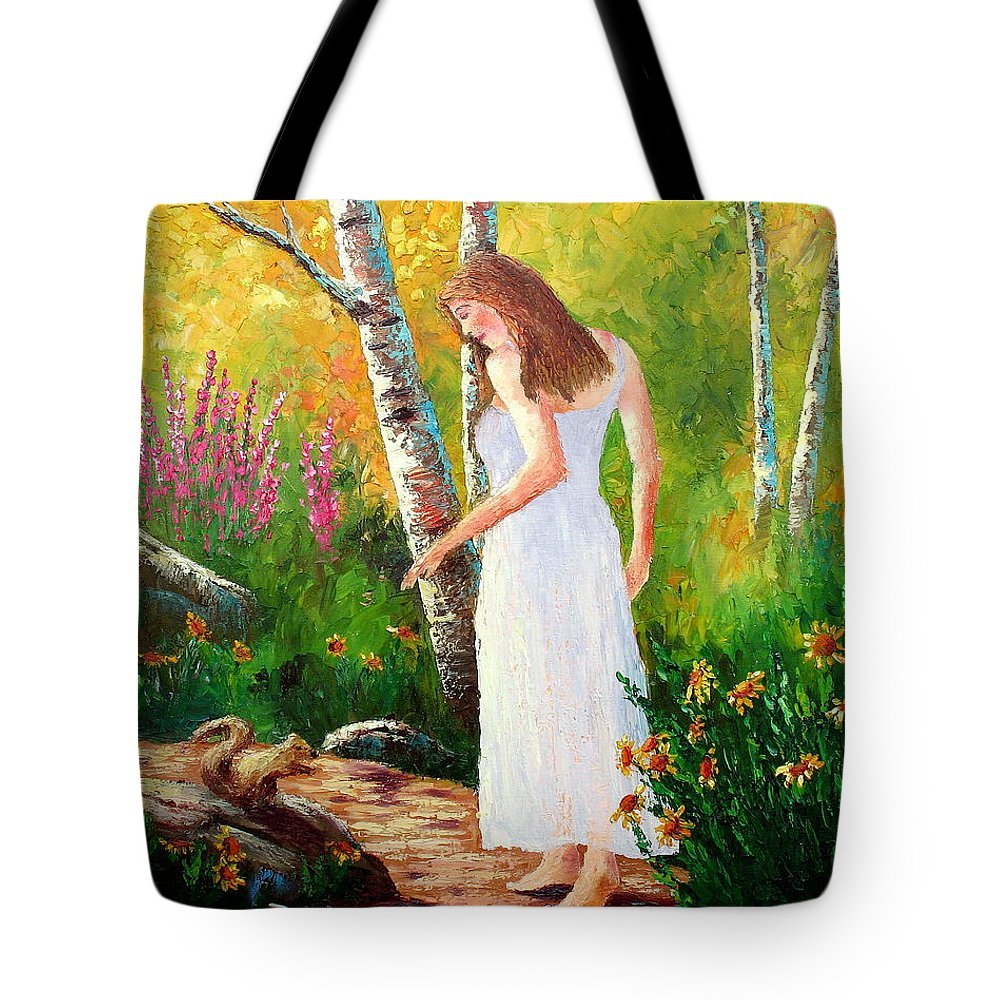Landscape Tote Bag featuring the painting A Friendly Greeting by David G Paul