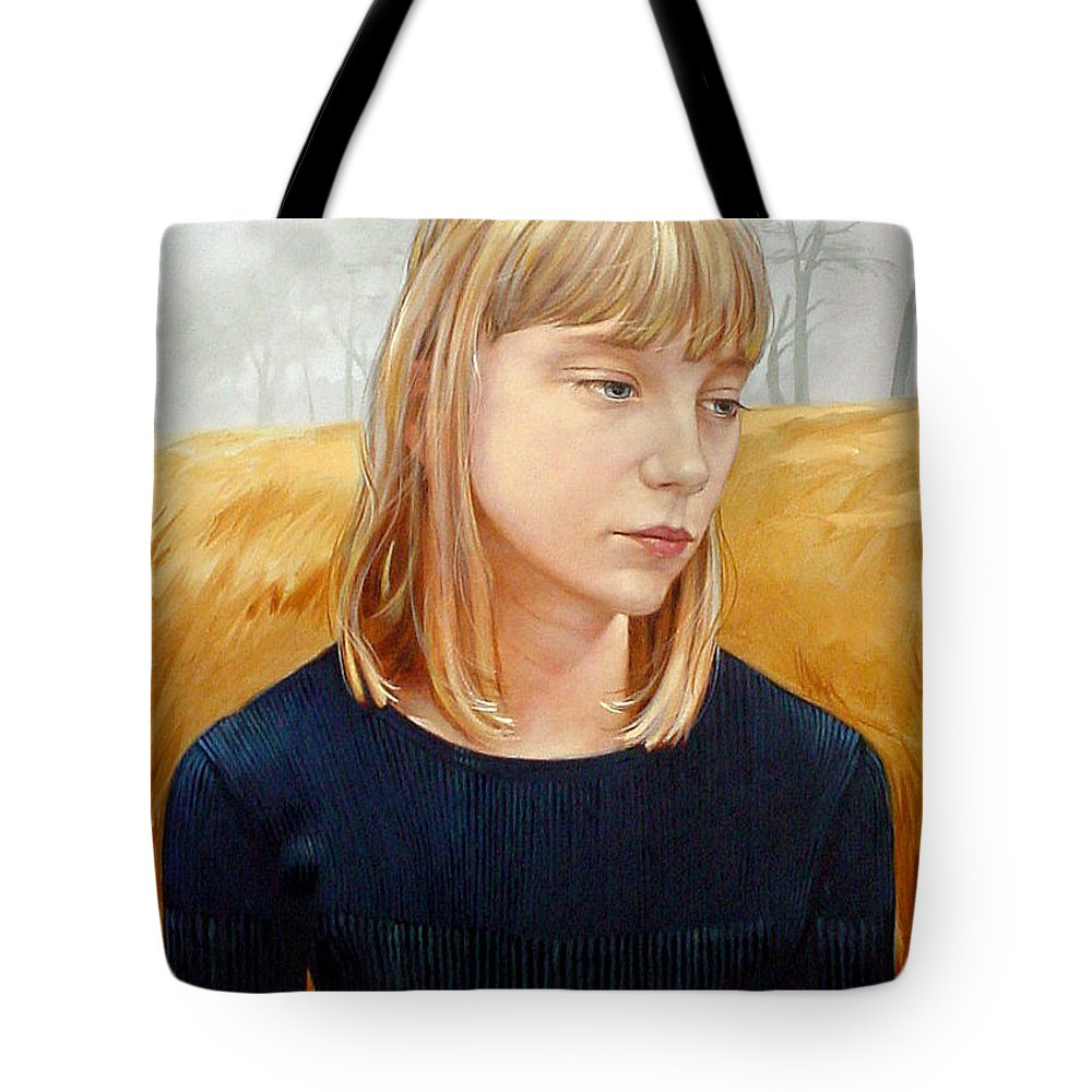 Girl Tote Bag featuring the painting A Gang Of Crows by Jerrold Carton