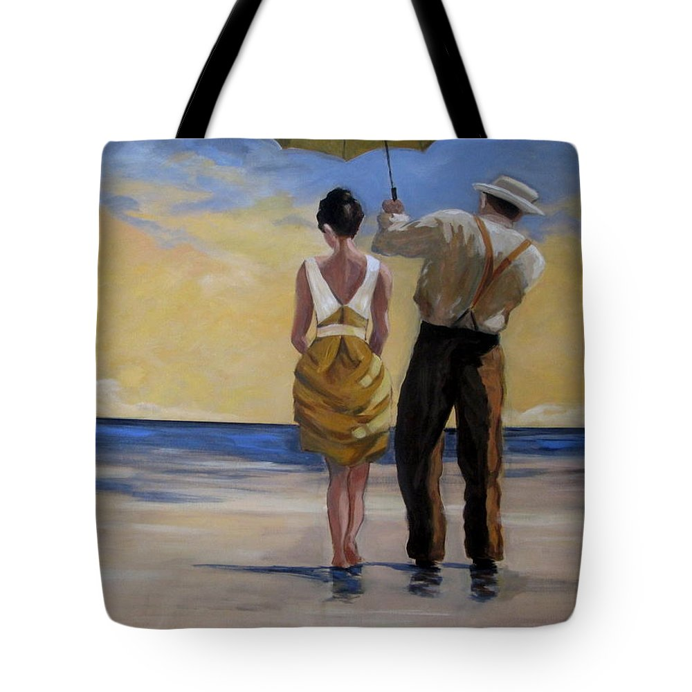 Beach Tote Bag featuring the painting A Gentleman And His Lady by Rosie Sherman