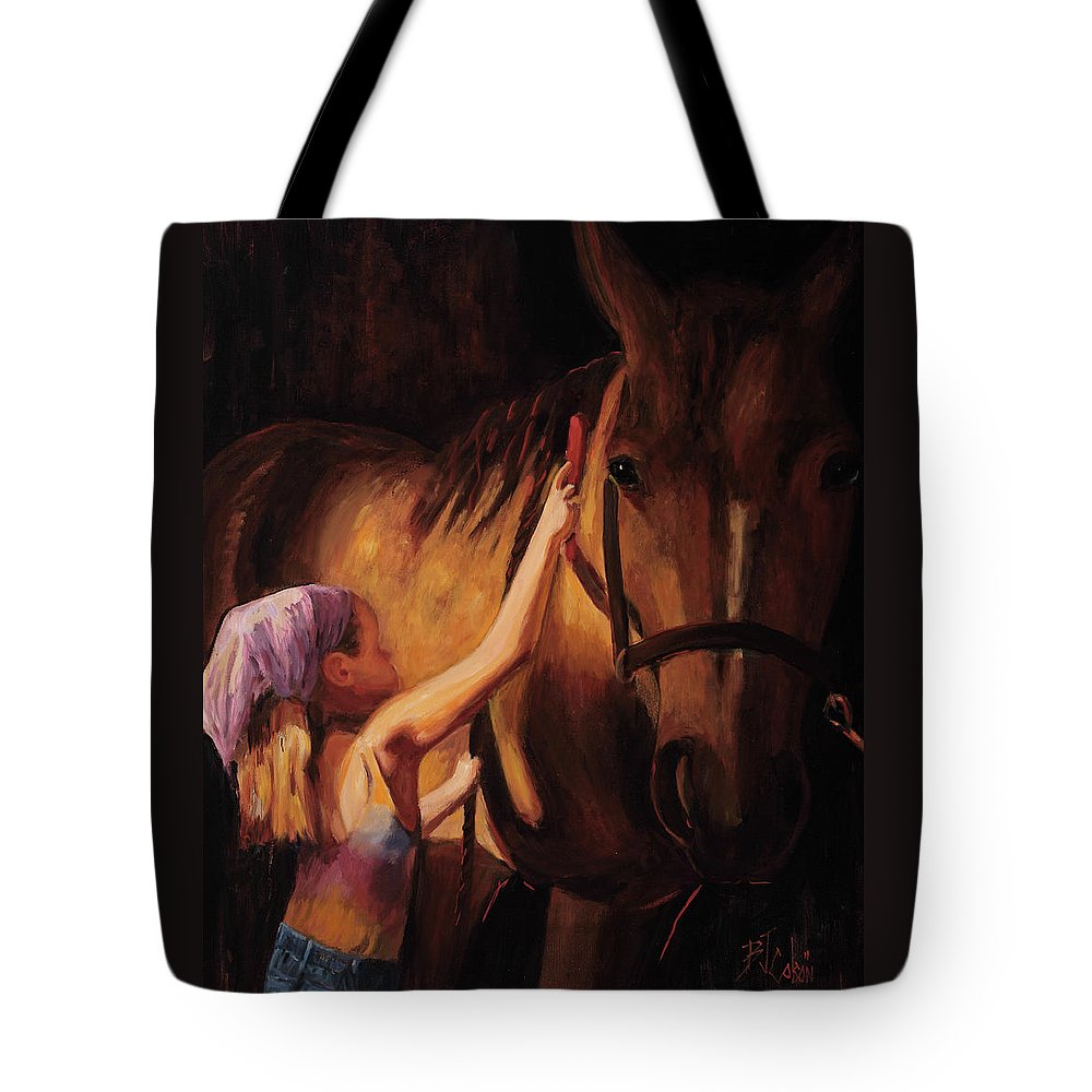 Young Girl With Horse Tote Bag featuring the painting A Girls First Love by Billie Colson