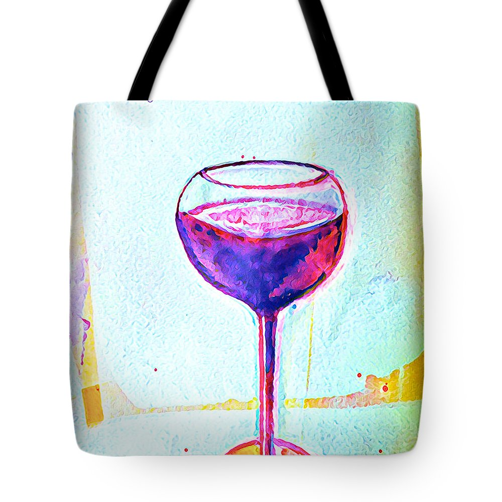 Wine Tote Bag featuring the mixed media A Glass Of Vino 1 by Vanessa Katz
