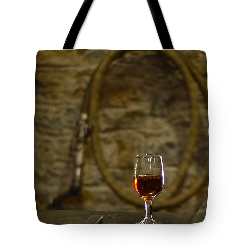Bourbon Tote Bag featuring the photograph A Glass Of Woodford by Constance Sanders