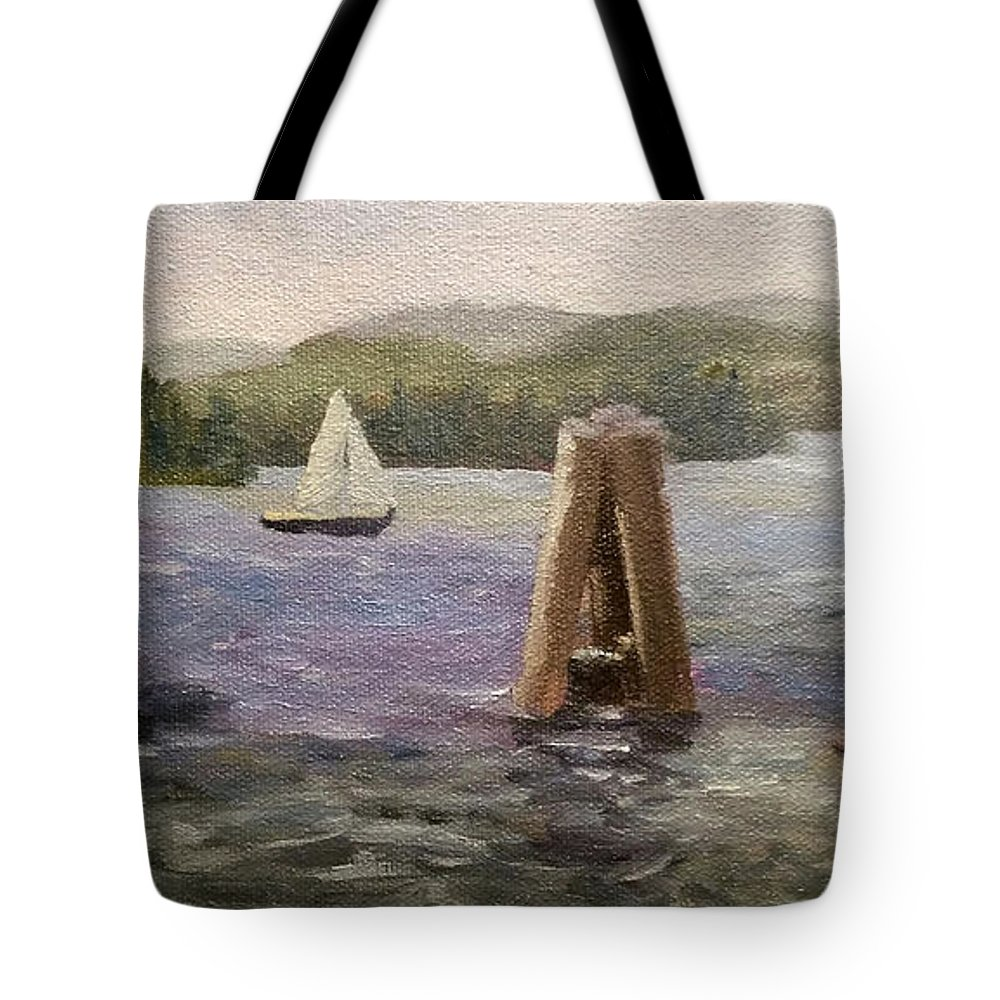 Boats Tote Bag featuring the painting A Good Day for Boating by Sharon E Allen