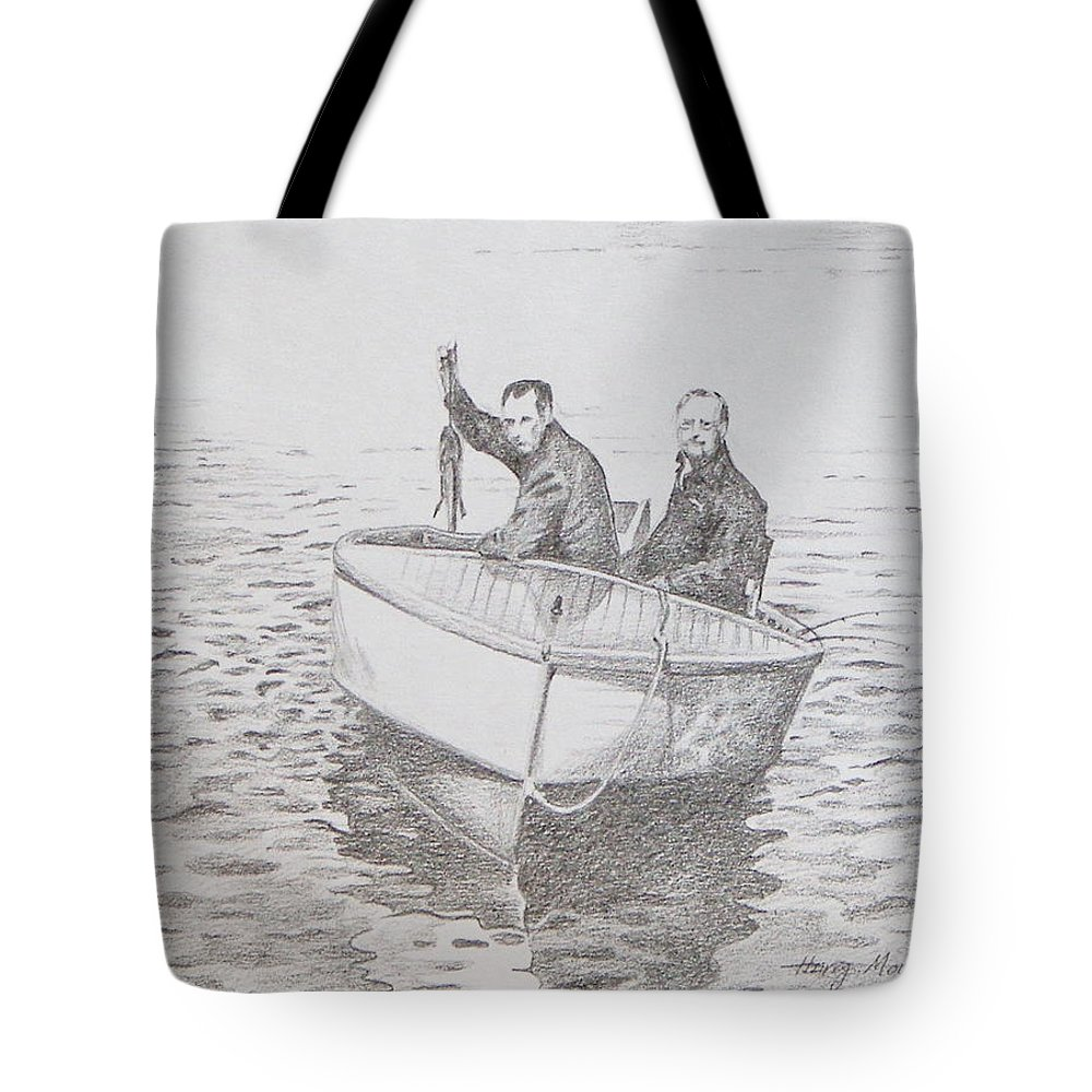 Boat Tote Bag featuring the drawing A Good Day by Harry Moulton