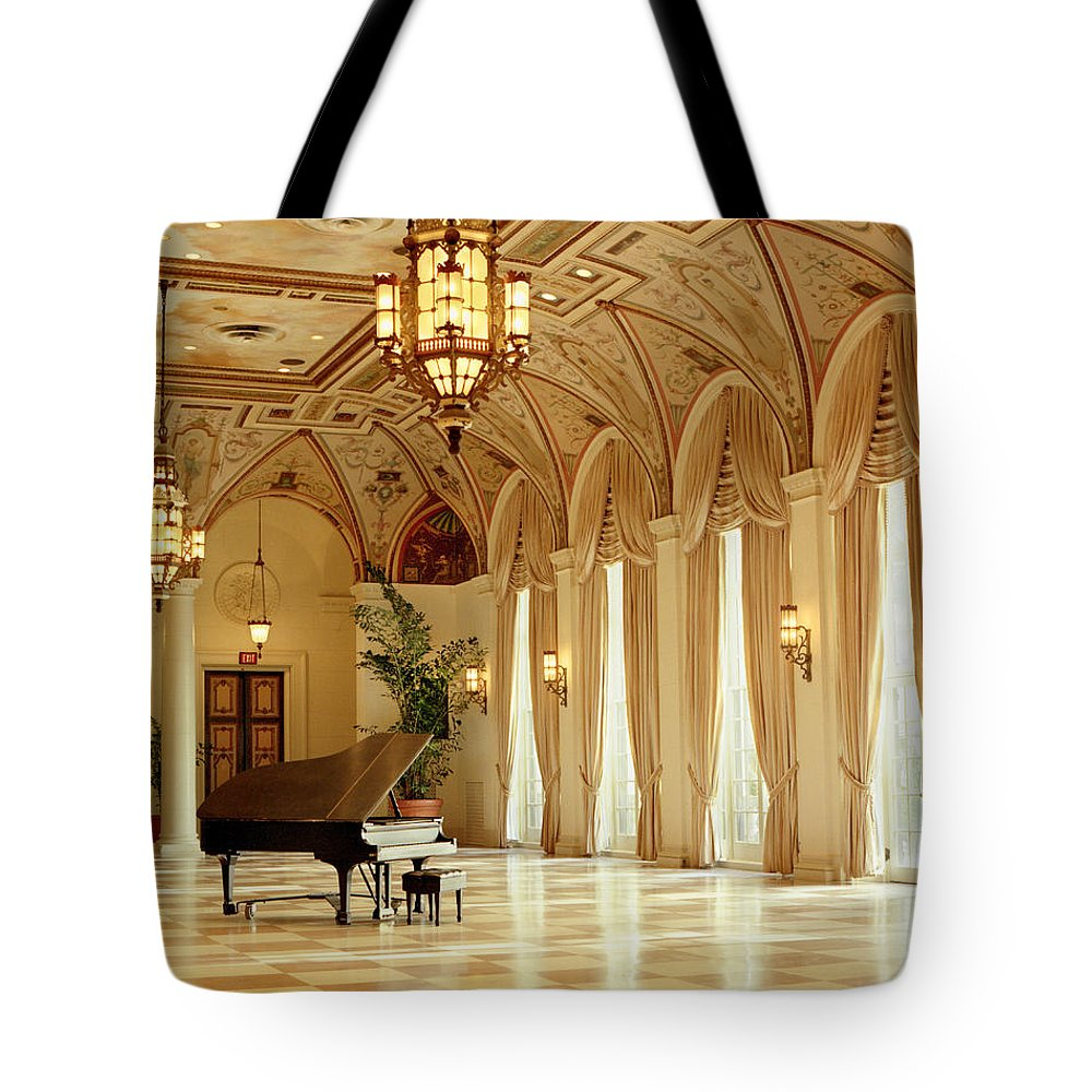 The Breakers Tote Bag featuring the photograph A Grand Piano At The Breakers 100 by Rich Franco