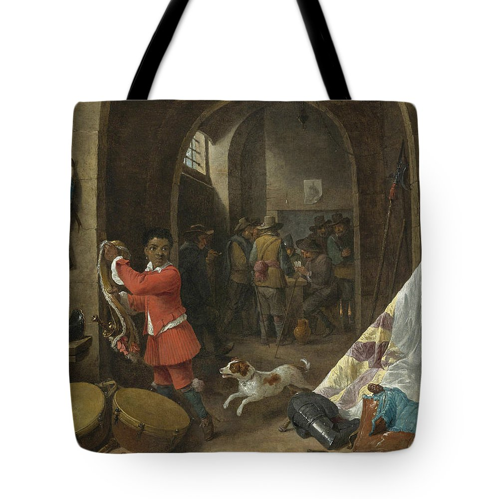 17th Century Art Tote Bag featuring the painting A Guardroom Interior by David Teniers the Younger