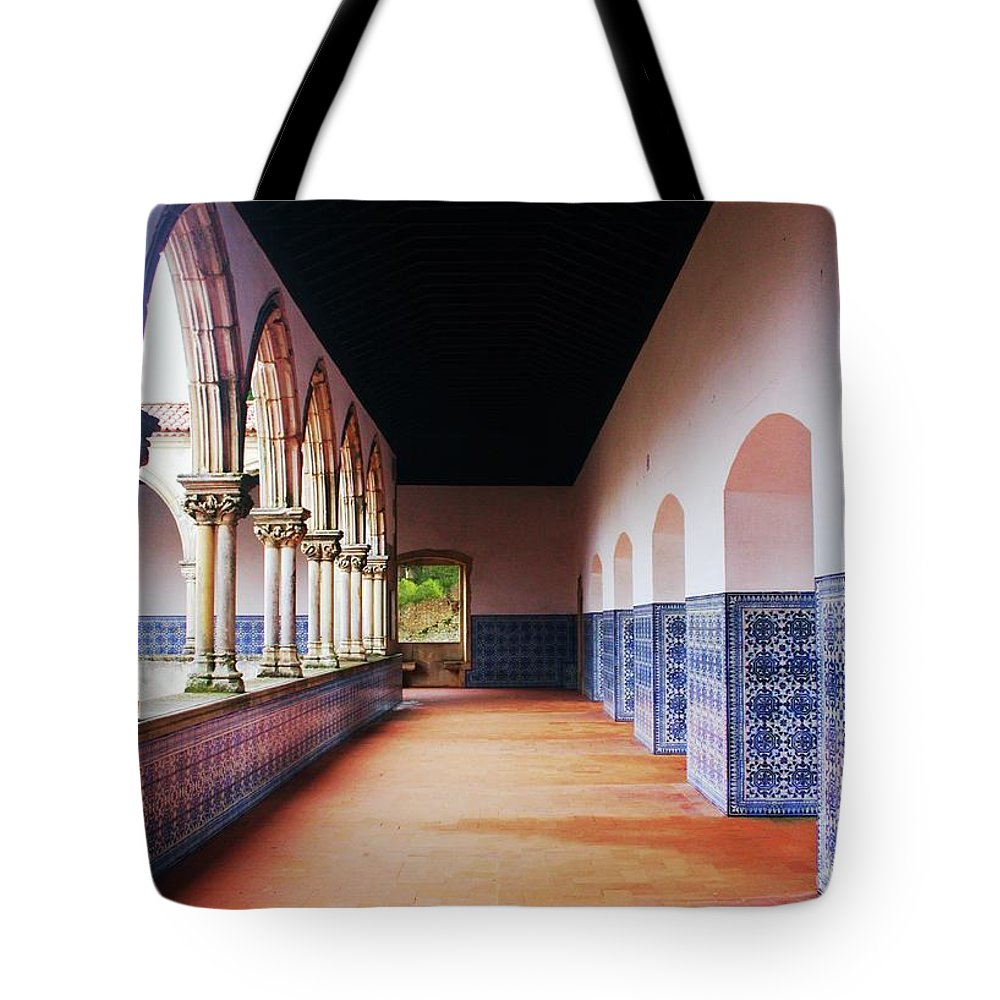 Mosaics Tote Bag featuring the photograph A Hall With History by Raquel Daniell
