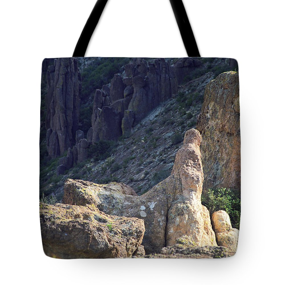 Rock Formations Tote Bag featuring the photograph A Hard Ride by Kathy McClure
