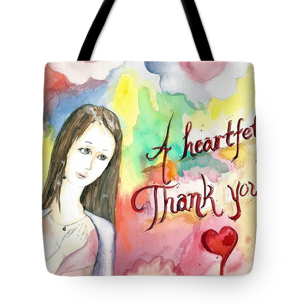 Aquarelle Tote Bag featuring the painting A Heartful Thank You by Amadrys Art