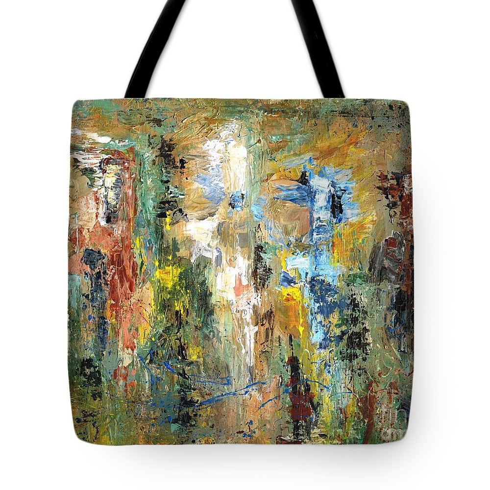 Horses Tote Bag featuring the painting A Herd Of Five by Frances Marino