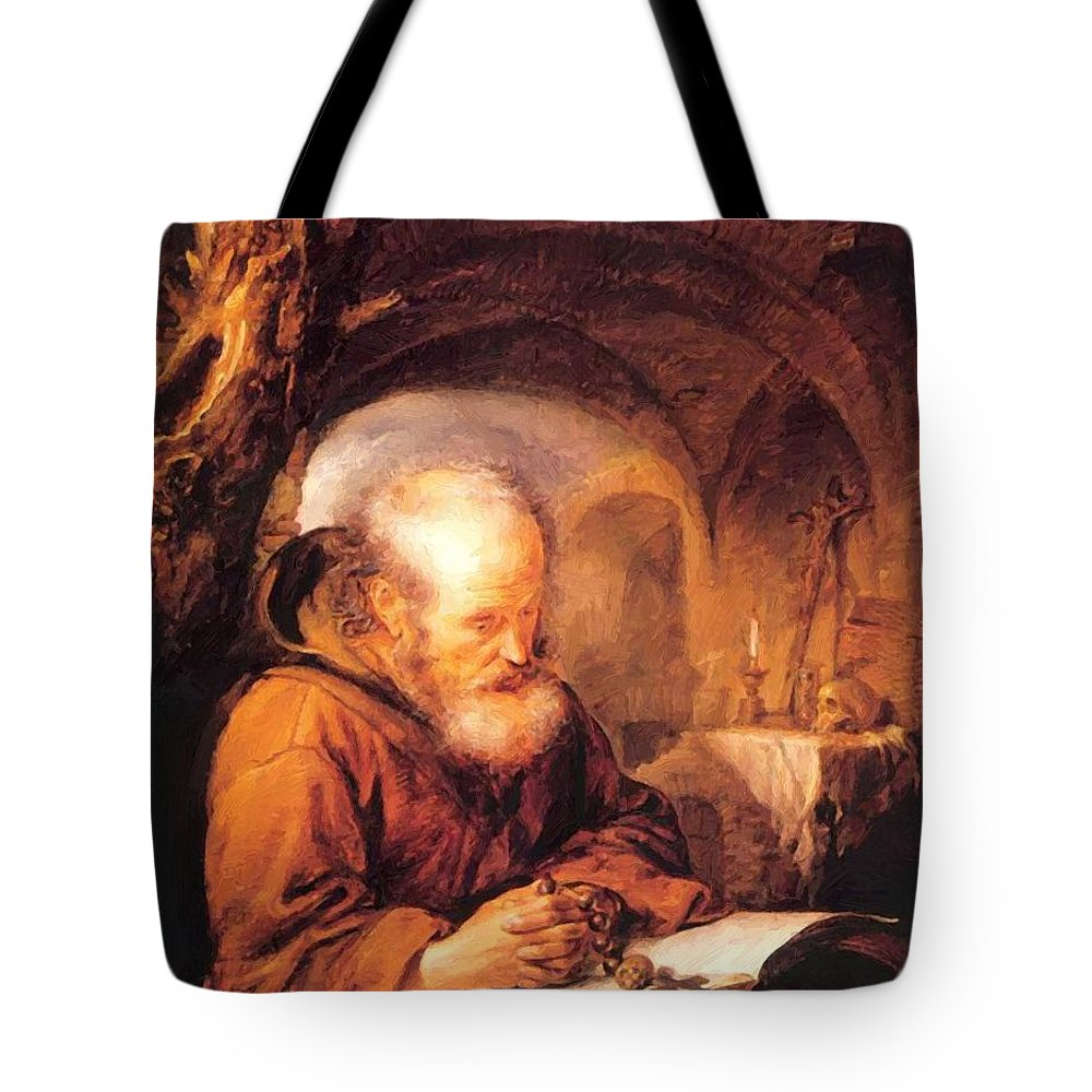 A Tote Bag featuring the painting A Hermit Praying 1670 by Dou Gerrit