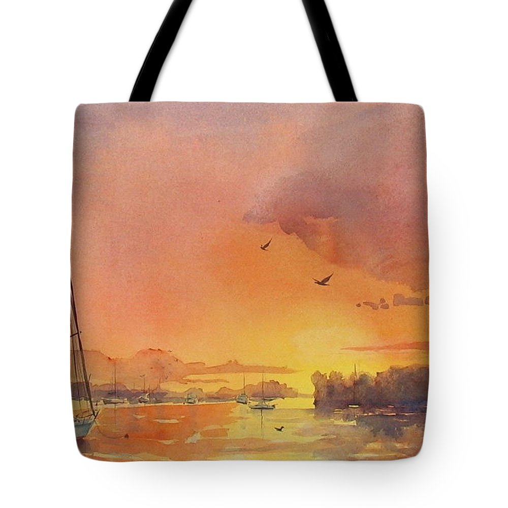 Seascape Tote Bag featuring the painting A Hingham Sunset by Laura Lee Zanghetti