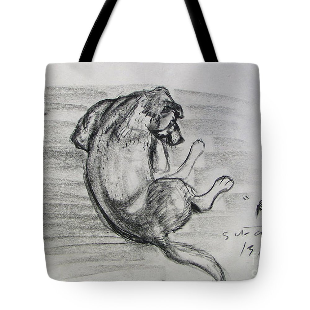 Dog Tote Bag featuring the drawing A Hippy Dog by Sukalya Chearanantana