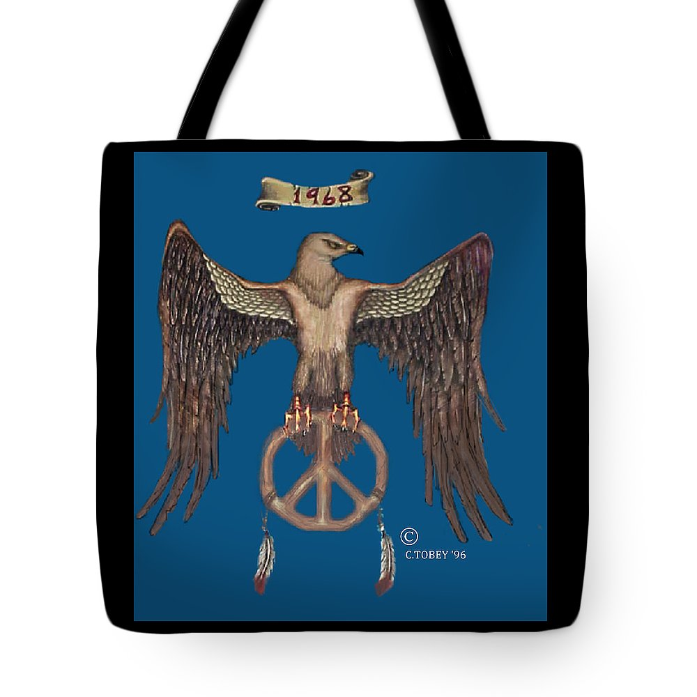 60's Tote Bag featuring the painting A Hippy Standard by Christopher Tobey