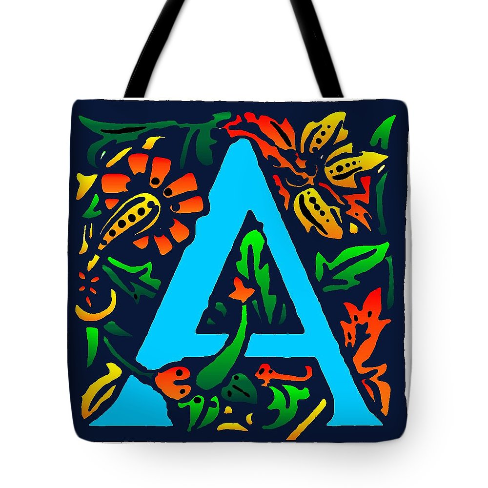 Alphabet Tote Bag featuring the digital art A In Blue by Kathleen Sepulveda