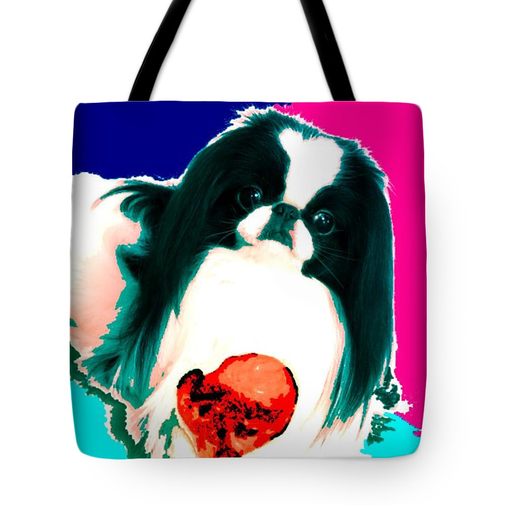 A Japanese Chin And His Toy Tote Bag featuring the digital art A Japanese Chin And His Toy by Kathleen Sepulveda