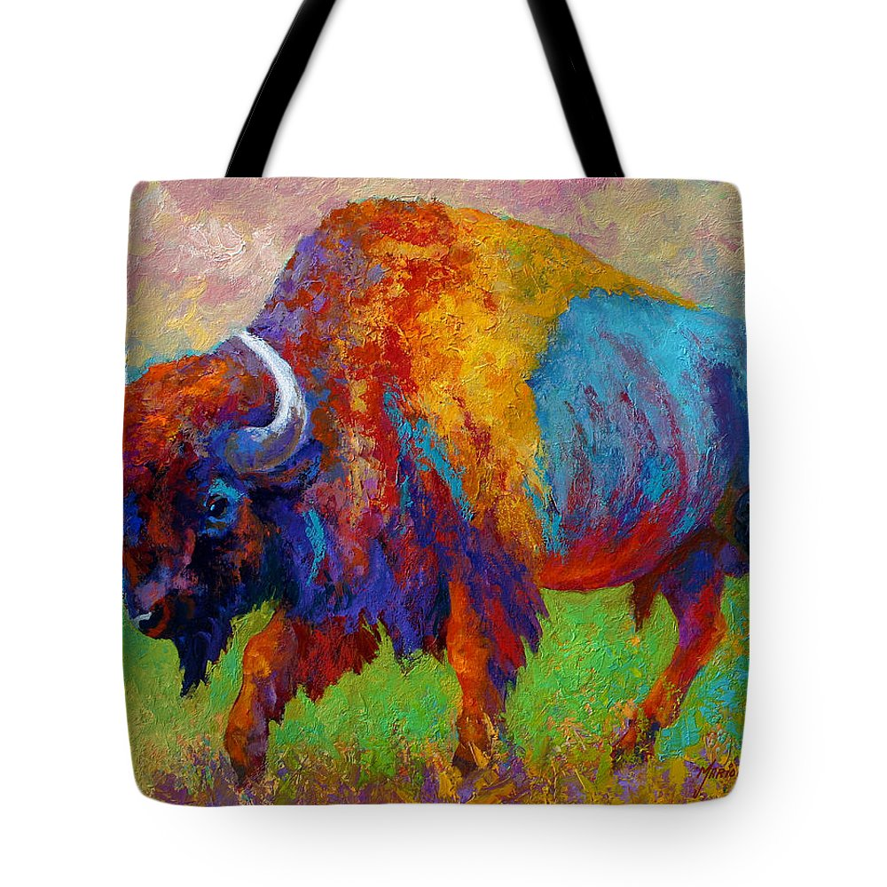 Wildlife Tote Bag featuring the painting A Journey Still Unknown - Bison by Marion Rose