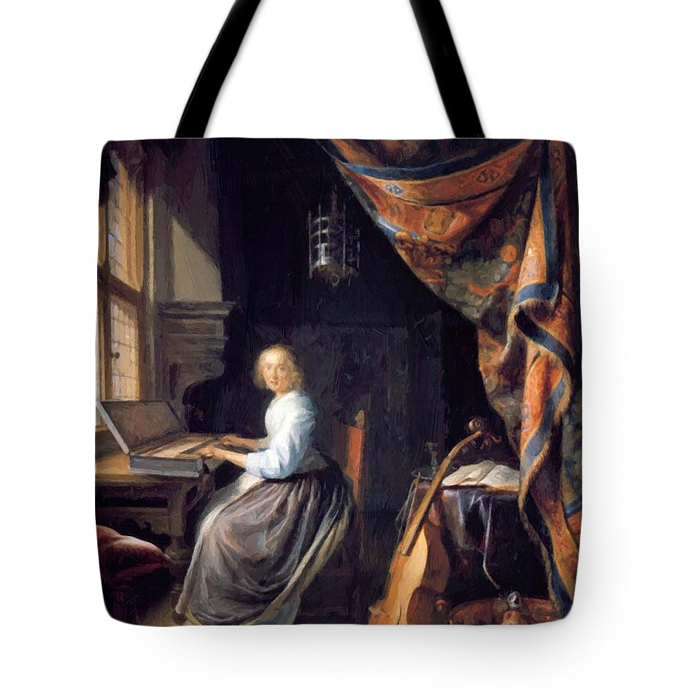 A Tote Bag featuring the painting A Lady Playing The Clavichord by Dou Gerrit