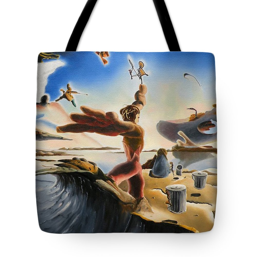 Oil Tote Bag featuring the painting A Last Minute Apocalyptic Education by Dave Martsolf