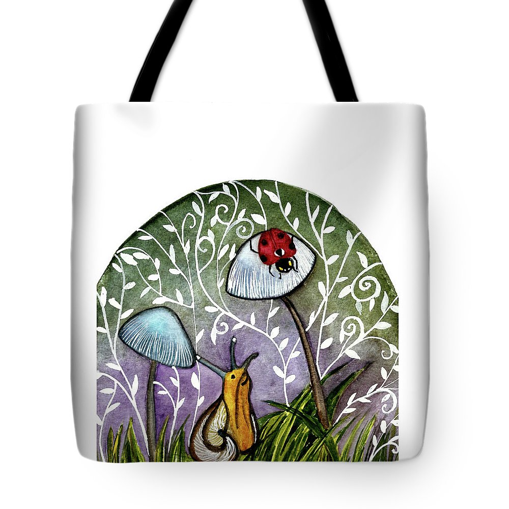 Watercolor Illustration Tote Bag featuring the painting A Little Chat-ladybug And Snail by Garima Srivastava