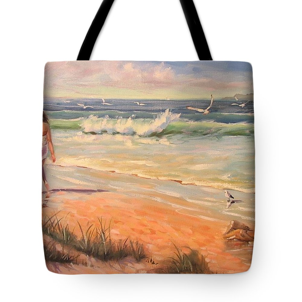 Seascape Tote Bag featuring the painting A Little Piece Of Heaven Donated For Breast Cancer Auction by Laura Lee Zanghetti