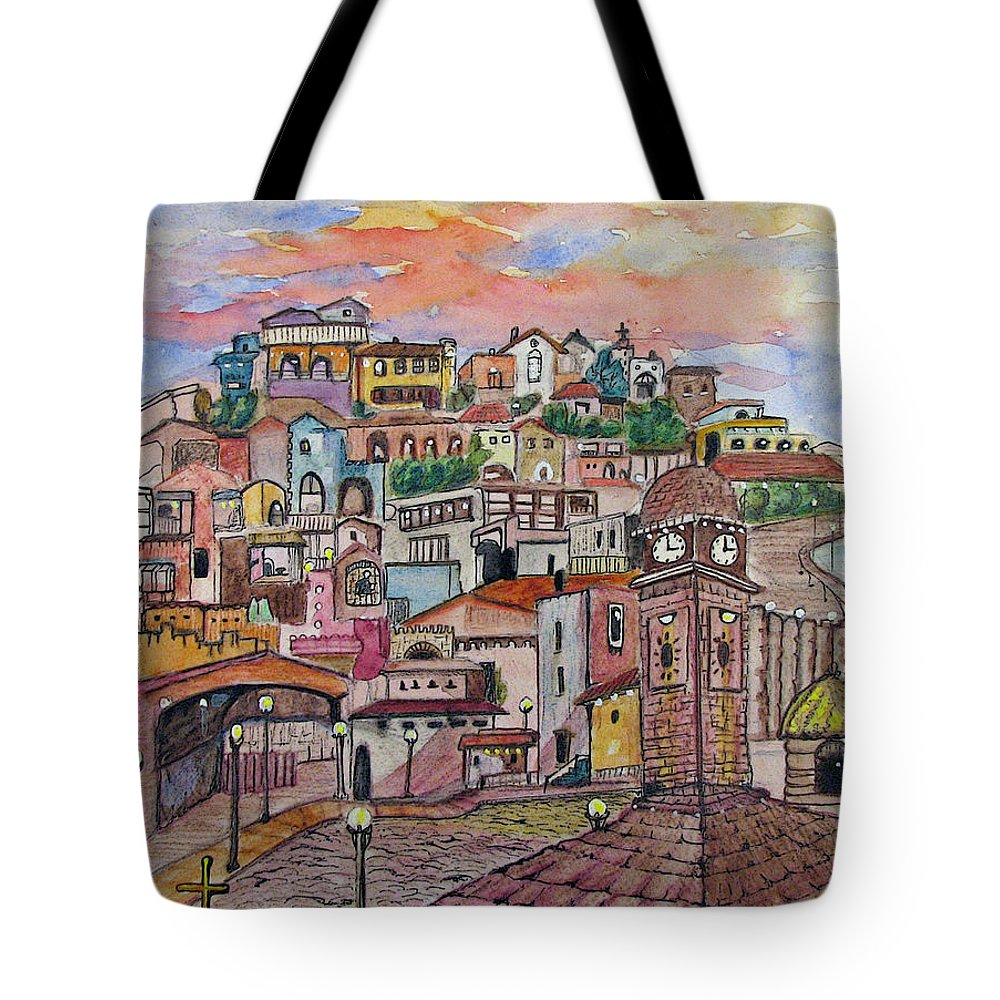 Townscape Tote Bag featuring the painting A Little Town In France by Patricia Arroyo