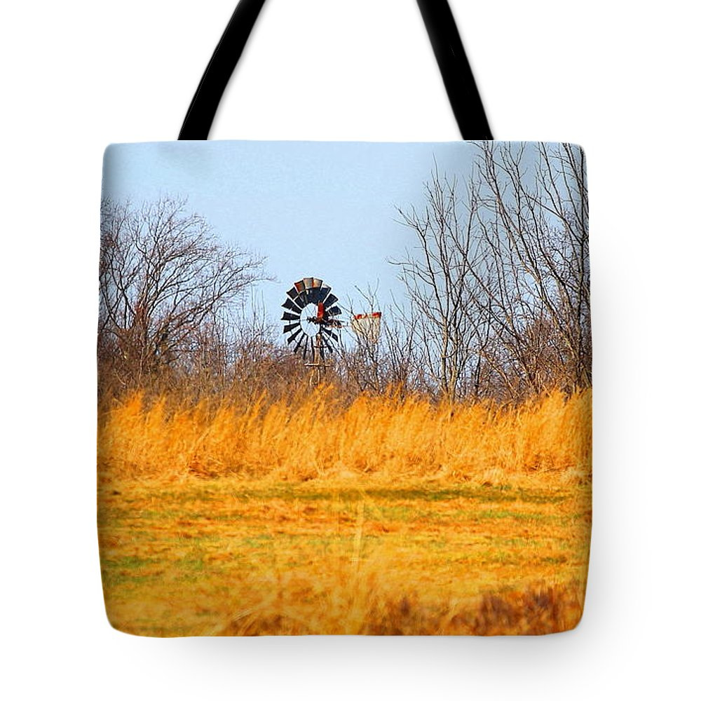 Landscape Tote Bag featuring the photograph A Lonely Windmill by David Rosenthal