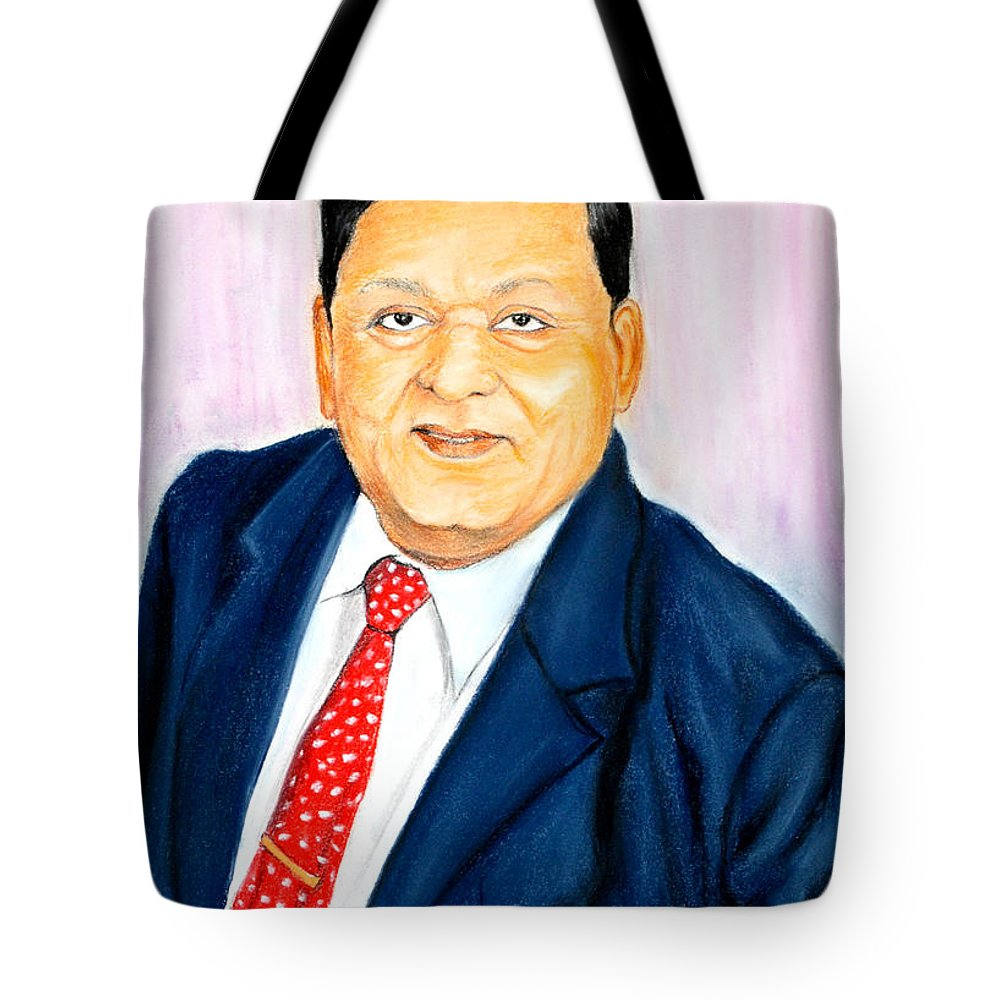 Portrait Tote Bag featuring the painting A M Naik Portrait by Mohamad Ali