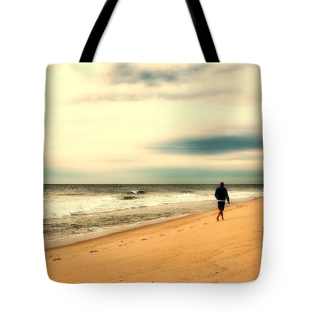 Jersey Shore Tote Bag featuring the photograph A Man's Serenity - Jersey Shore by Angie Tirado