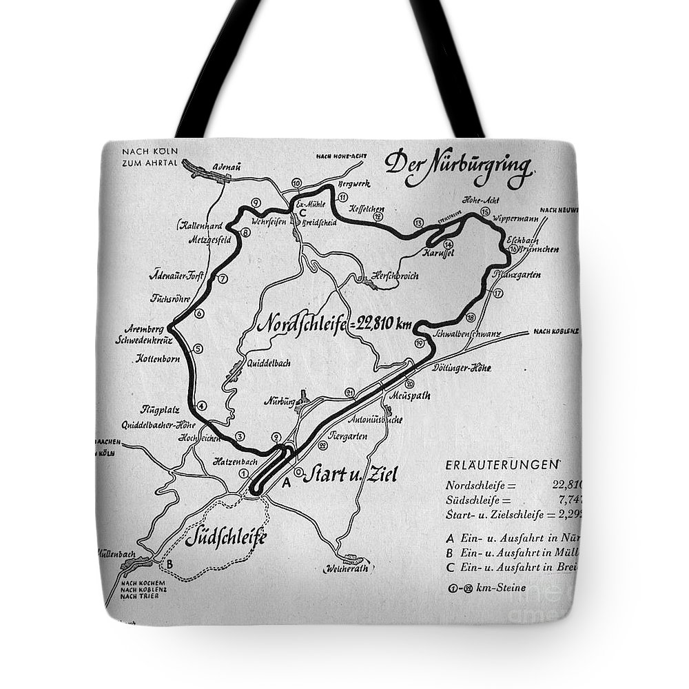 Nurburgirng Tote Bag featuring the drawing A Map Of The Nurburgring Circuit by German School
