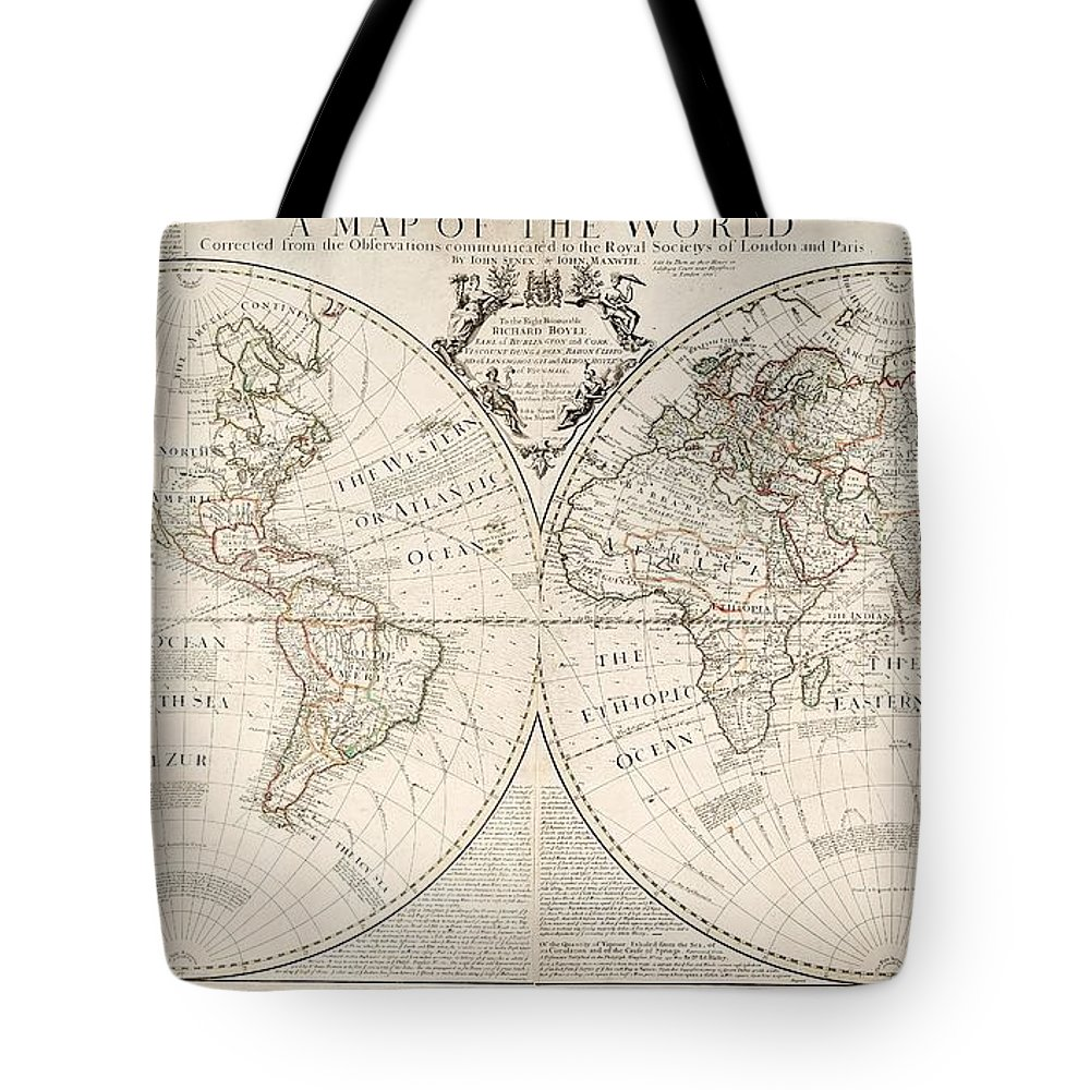 Map Tote Bag featuring the painting A Map Of The World by John Senex