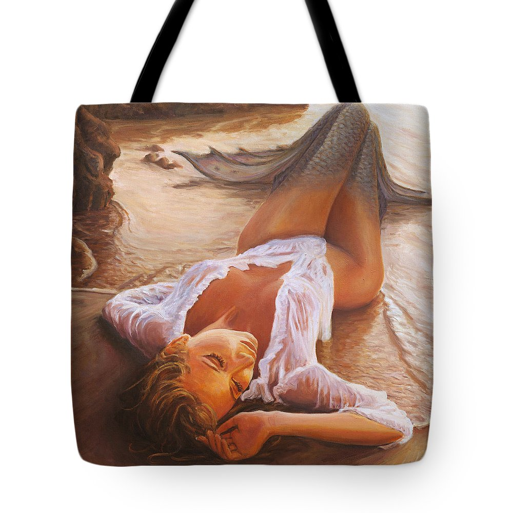 Mermaid Siren Sensual Sunset Sea Water Lady Sexy Tote Bag featuring the painting A Mermaid In The Sunset - Love Is Seduction by Marco Busoni