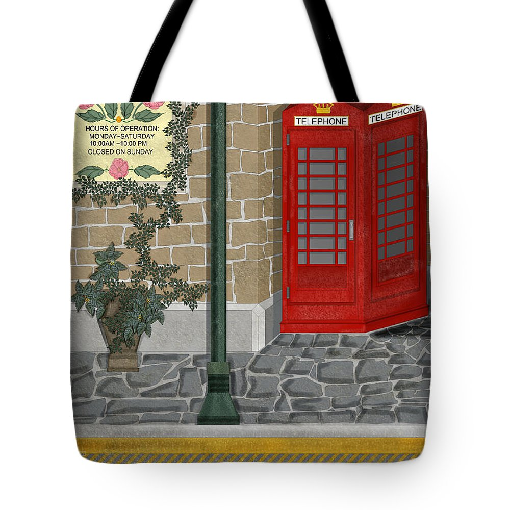 Cityscape Tote Bag featuring the painting A Merry Old Corner In London by Anne Norskog