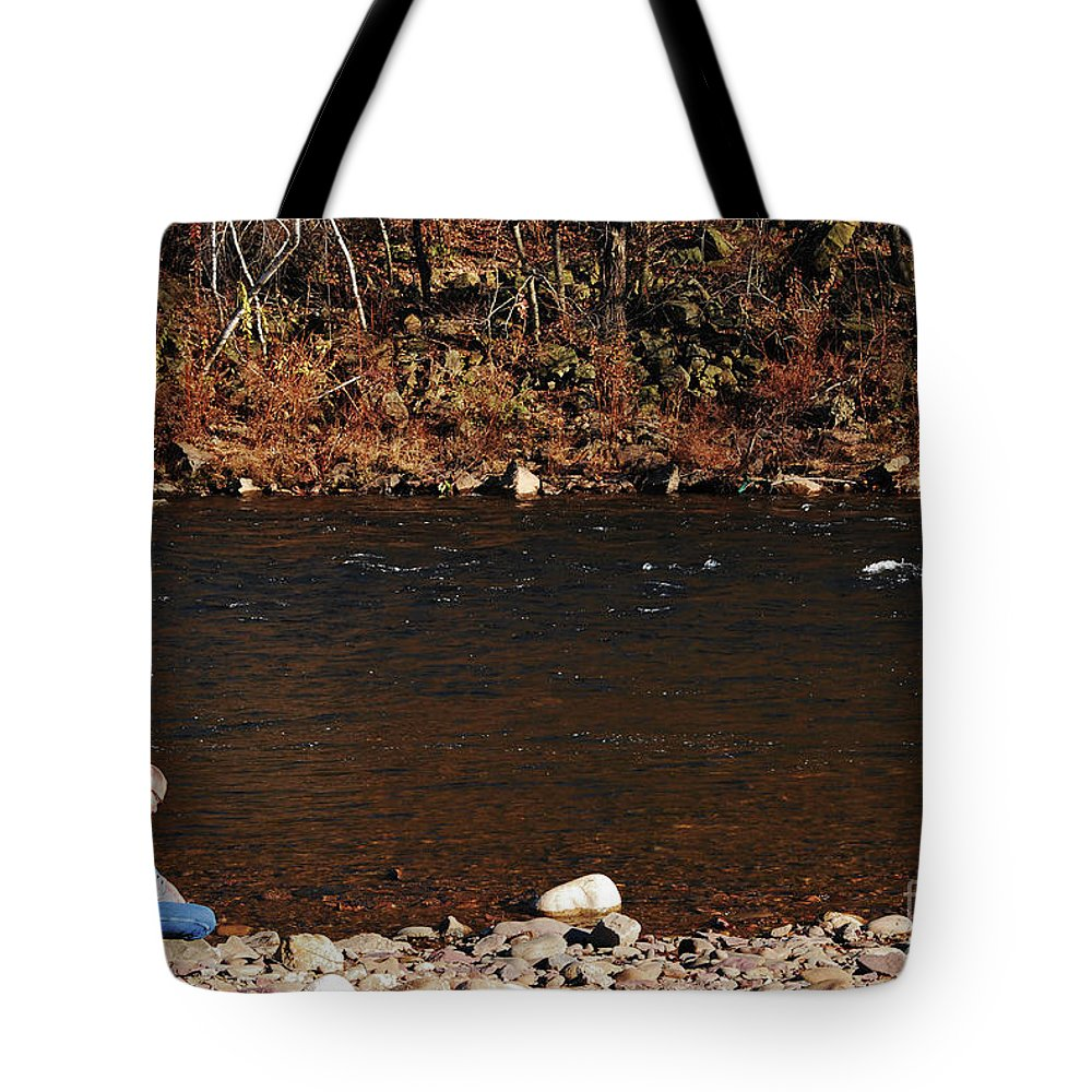 Person Tote Bag featuring the photograph A Moment By The Water by Lori Tambakis