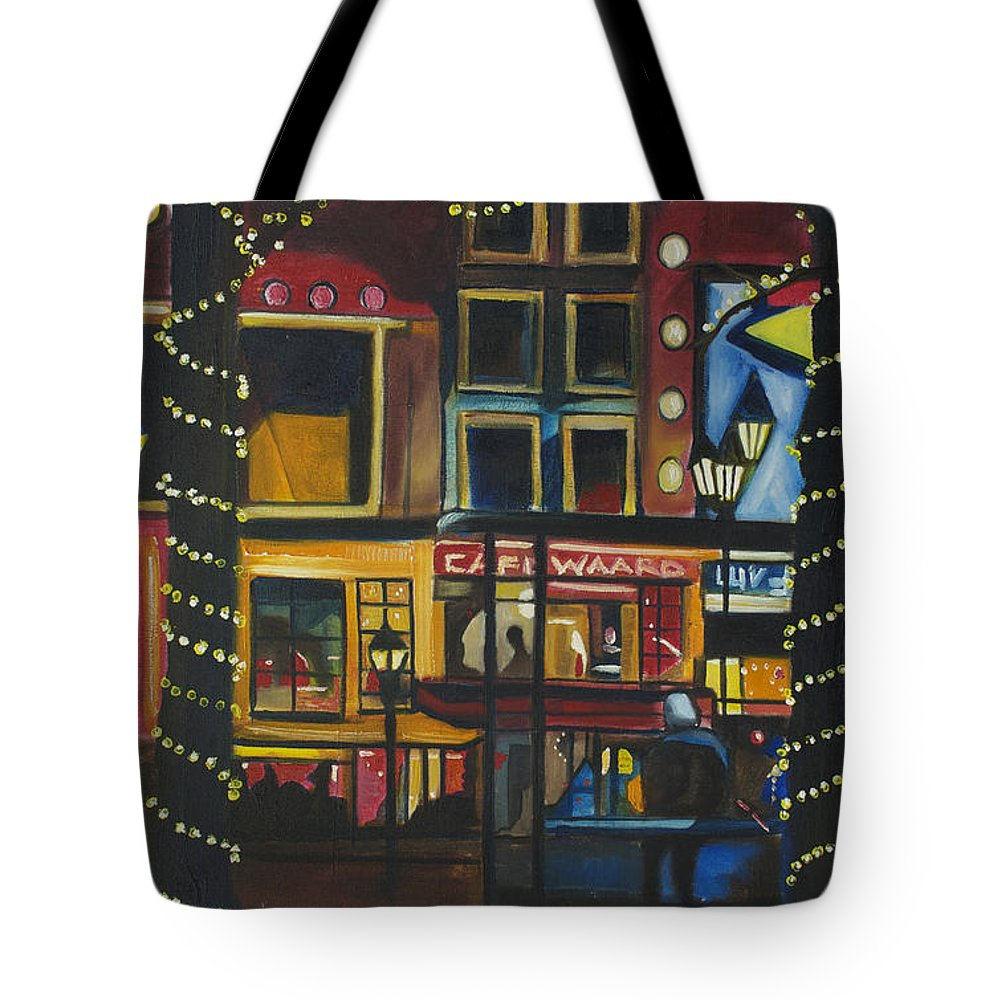 Cityscape Tote Bag featuring the painting A Moment In Dam by Patricia Arroyo