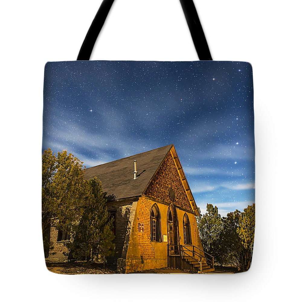 Big Dipper Tote Bag featuring the photograph A Moonlit Nightscape Of The Historic by Alan Dyer