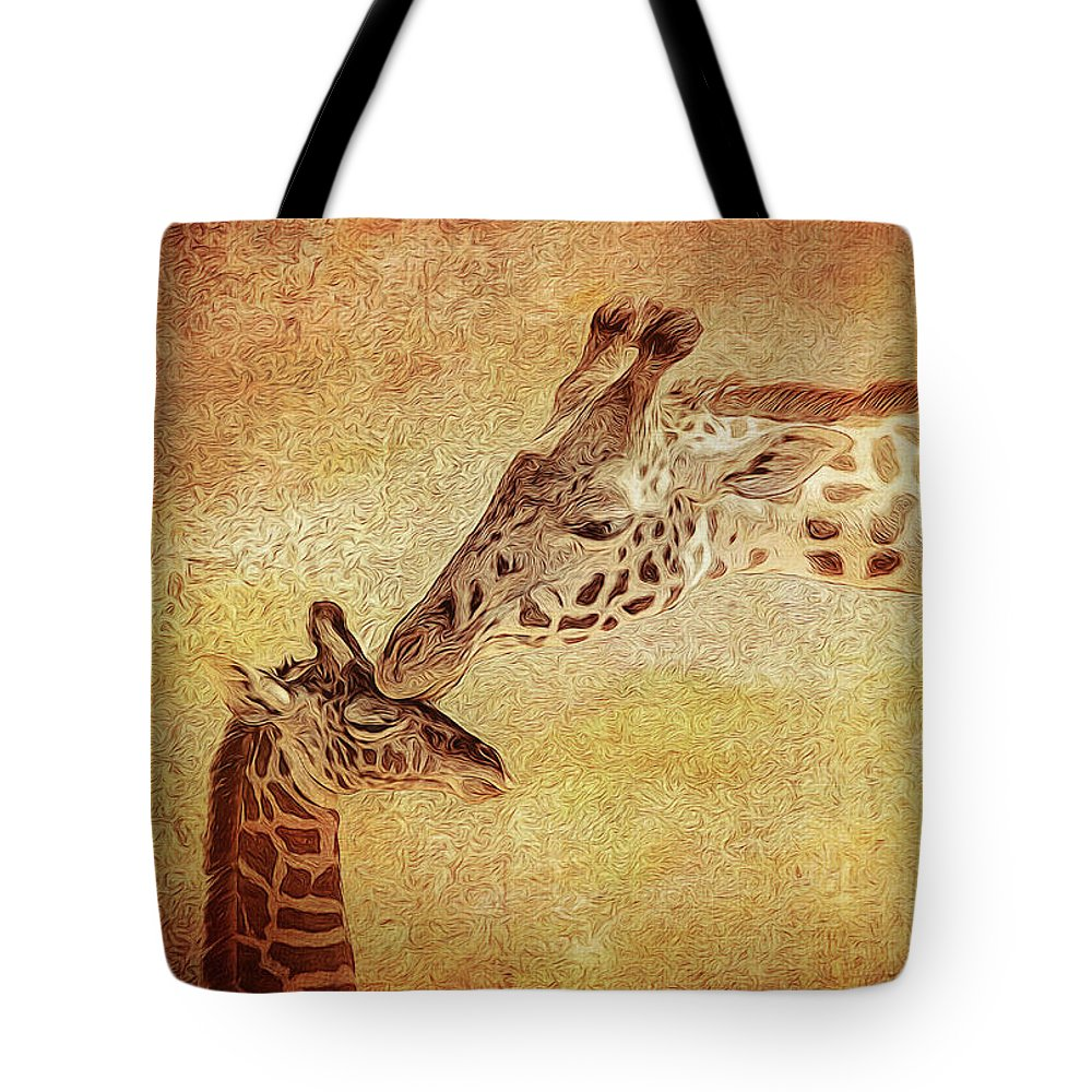 Giraffe Tote Bag featuring the photograph A Mother's Kiss Painted 2 by Judy Vincent