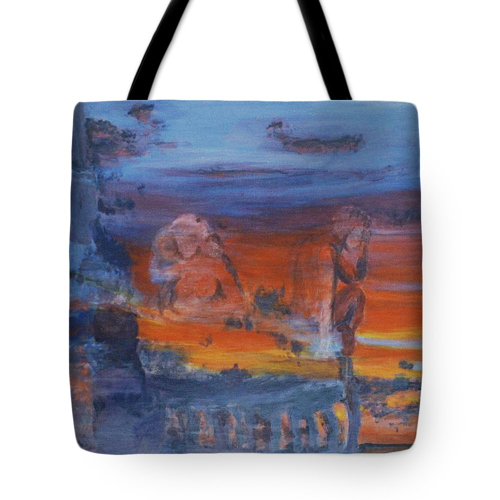 Abstract Tote Bag featuring the painting A Mystery Of Gods by Steve Karol