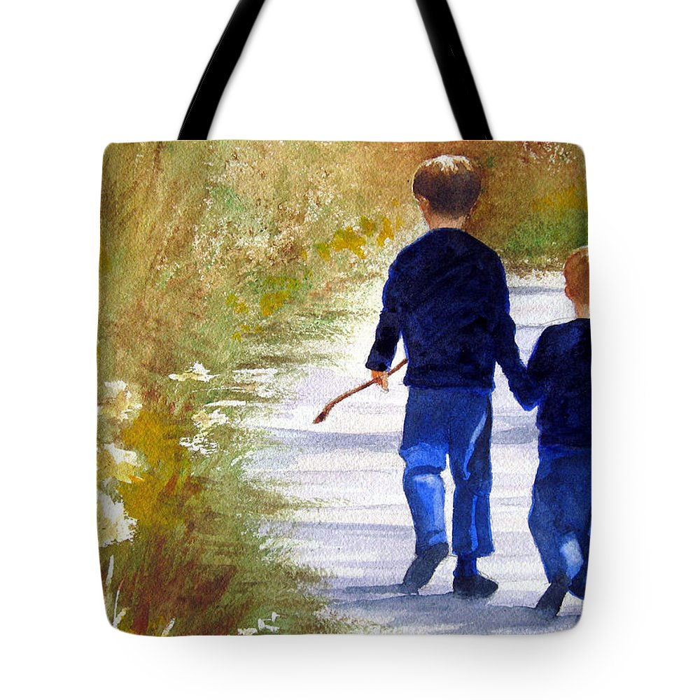 Kids Tote Bag featuring the painting A Nature Walk by Marsha Elliott