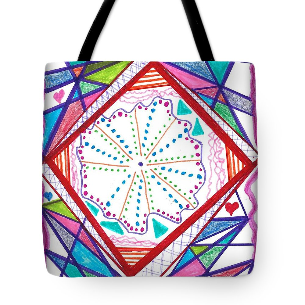 Abstract Tote Bag featuring the drawing A New Angle by Susan Schanerman