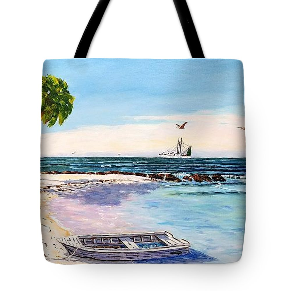 Gulf Tote Bag featuring the painting A Nice Day At The Beach by Jerry SPANGLER