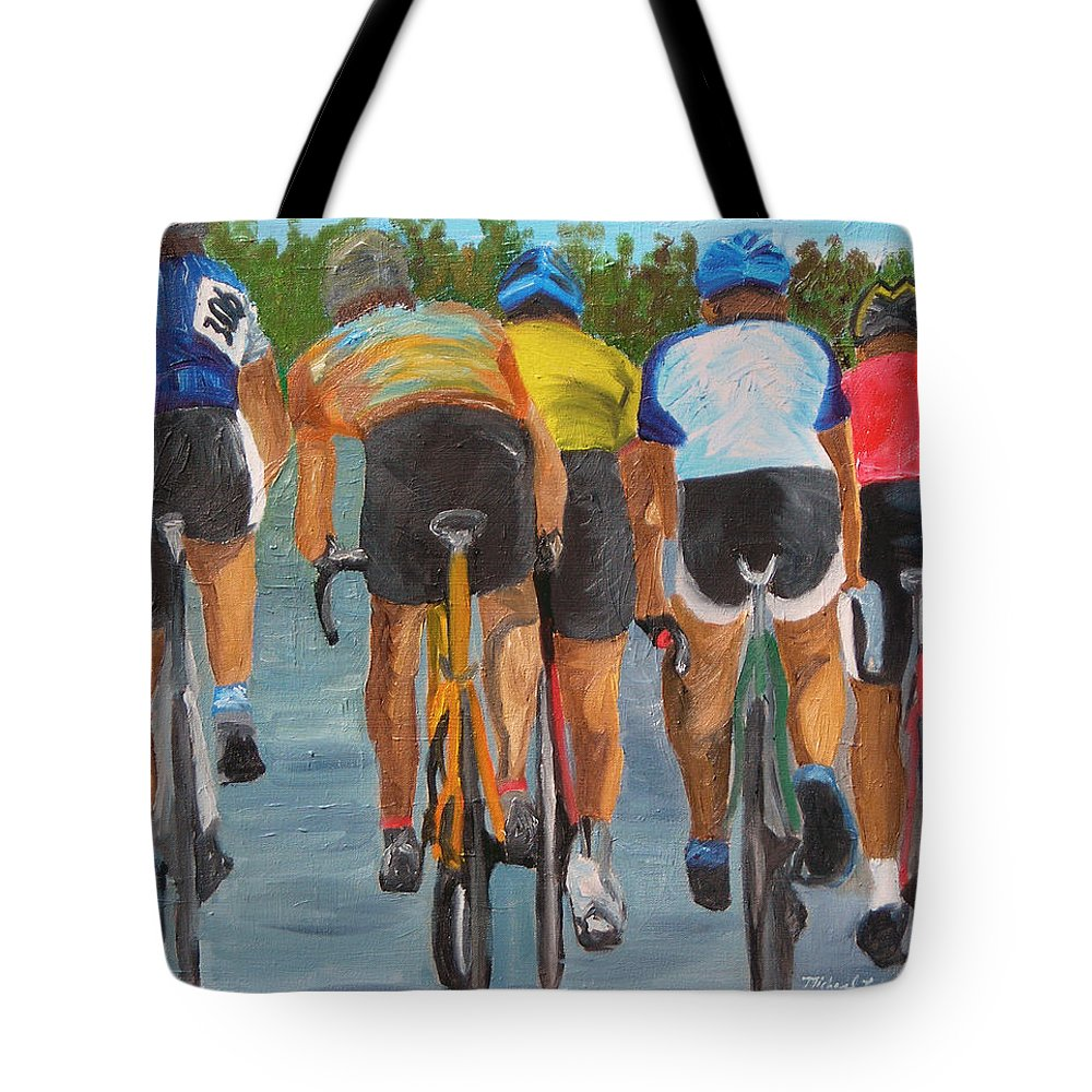 Cycling Tote Bag featuring the painting A Nice Day For A Ride by Michael Lee