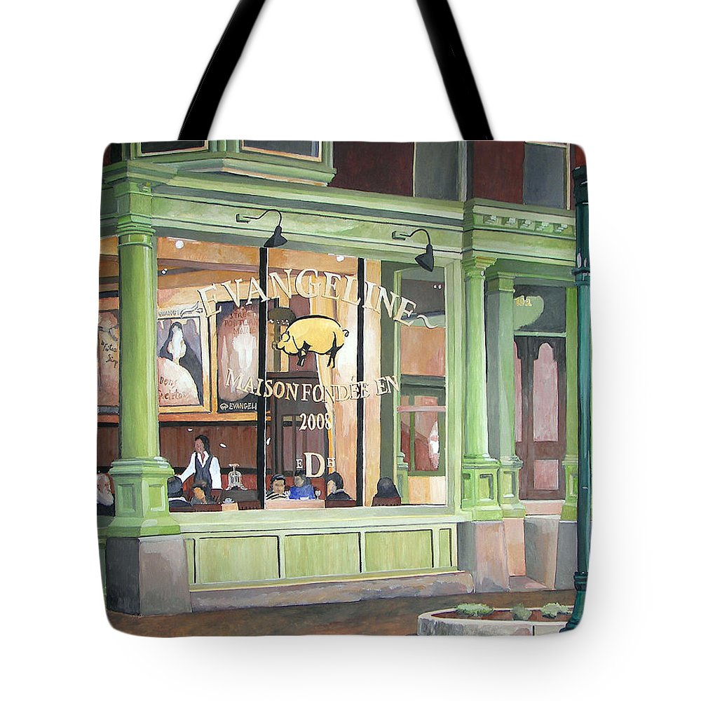 Restaurant Tote Bag featuring the painting A Night At Evangeline by Dominic White