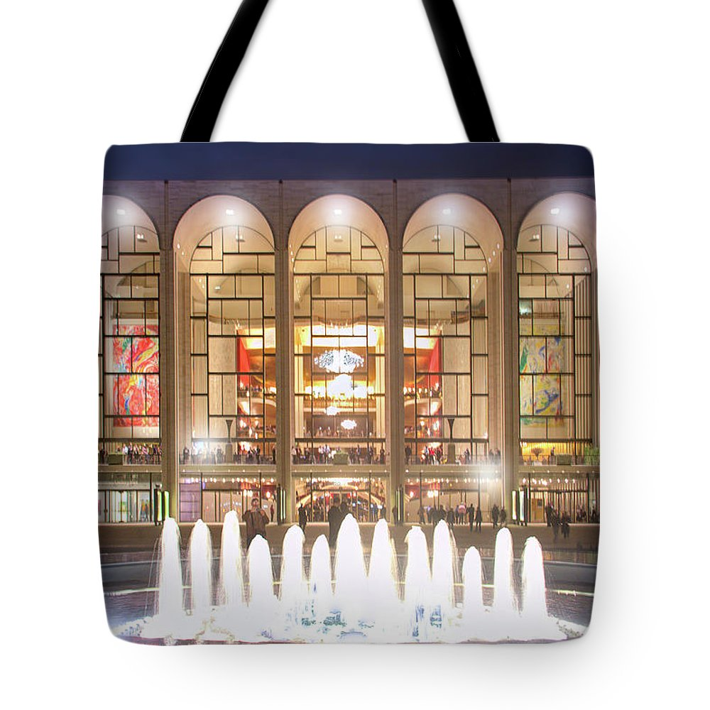 Lincoln Center Tote Bag featuring the photograph A Night At Lincoln Center by Mark Andrew Thomas