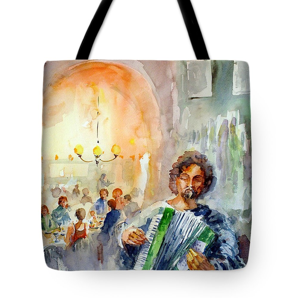 Tavern Tote Bag featuring the painting A Night At The Tavern by Faruk Koksal